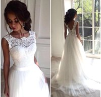 Wholesale New Corset Tulle Wedding Dresses - Elegant New A Line Wedding Dresses 2017 Sheer Neck Lace Appliqued Bridal Gowns Corset Back Summer Beach Wedding Gowns BA3698