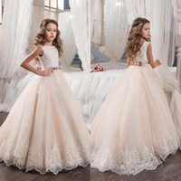 Wholesale Kids Vintage T Shirts - Vintage 2017 Flower Girl Dresses For Weddings Blush Pink Custom Made Princess Tutu Sequined Appliqued Lace Bow Kids First Communion Gowns
