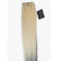 Wholesale 12 quot quot Full Head Women Clips in Real Soft Human Hair Extensions Straight Hair Platinum Blonde gr gr gr