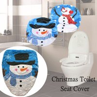 Wholesale Toilet Seats Covers Soft - Wholesale-Toilet Seat Cover Black Hat Branch Snowman Bathroom Set Christmas Decorations for Home Textiles Soft Cloth