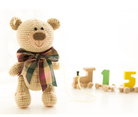 Wholesale Crochet Baby Photography Props - 2017 Newborn Baby Girls Boys Toys Crochet Baby Bear Handmade Photography Prop Photo Knit Toy Cute Gift DIY Dolls FreeShipping