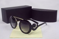 Wholesale Woman Coat Legging - High quality 6 colors coating lens vintage sunglasses cloud legs round frames for women come with original box