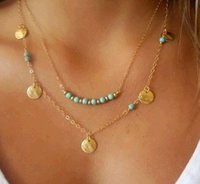 Wholesale Multi Layer Necklace Body Chain - Statement Necklaces for Women Beads Coin Turquoise Boho Pendants Body Chain Summer Style Steampunk Multi-layer Necklaces Layer Chain Sale