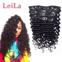 клип виргинские волосы вьющиеся оптовых-Перуанский Виргинский зажим для волос в наращивание волос глубокая волна вьющиеся 70-120 г полная голова 7 штук один комплект