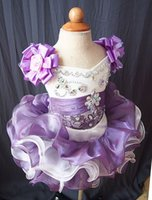 Wholesale mini red organza dress resale online - V Neck Mini Short Tutu Toddler Pageant Dresses Organza Flower Girls Dresses Birthday Party Dresses Vestido de desfile