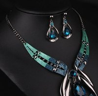 Wholesale Gem Exaggerated Earrings - Europe And United States new Exaggerated Jewelry Set Fashion Blue Gem Necklace Sapphire Earrings Jewelry Sets Female fashion Accessories
