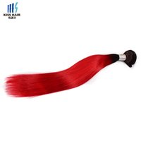 3 paquets T1B Red Ombre Ensembles de cheveux humains 14 16 18 pouces Soie Straight Human Hair Bundles Qualité Brazilian peruanian Malaysian Indian Hair