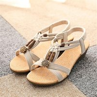 Wholesale Dropshipping Sandals - High Quality Women Sandals Casual Peep-toe Flat Buckle Shoes Roman Summer Sandals Size36-40 DropShipping
