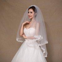 Wholesale rhinestone bridal comb - veu de noiva longo Two Layer White Ivory Wedding Veils With Comb Appliqued Edge 1.5 Meters Wedding Veils Bridal Accessories cpa858