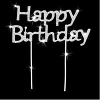 ingrosso torte di compleanno di lusso-Lusso strass lucido strass Happy Birthday Cake Topper Plug Lettere Crystal Stick Cake Decoration Birthday Party Accessorio ZA3557