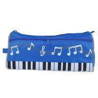 casos de lápis azul venda por atacado-Música Caneta Saco Grande Capacidade Saco Da Caneta Oxford Pano Lápis Caso Estudantes Papelaria Saco Azul