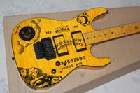 электрическая гитара оптовых-LTD Кирк Хамметс Пламя Клен Верхний Желтый KH-2 Ouija Электрическая гитара Звезда Луны Inlay Floyd Rose Tremolo EMG Pickups Black Hardware