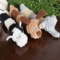 Wholesale cow cartoon toys online - Cute Cartoon Puppy Dog Chew Squeaker Cute Cow Puppy Squeaky Plush Sound For Dog Sound Toy Teethers Mix Order