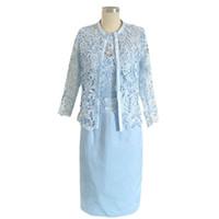 Wholesale High Collar Lace Bolero Jacket - Light Blue Sheath Lace Mother of the Bride Dress 2017 with 3 4 Sleeve Bolero Jacket Knee Length evening Prom Gowns