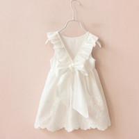 Wholesale Wholesale Cutout Ribbon - Summer White Lace Baby Girl Dress Cute Infant Backless Princess Tutu Dress Clothes Toddler Cutout V Ribbon Bow Dress For Girls