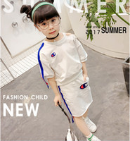 Wholesale Skirt Pieces Suit - Free shipping 2017 fashion casual cotton summer chlidren sets girls clothing red white half sleeve t shirt skirt 2pcs suits