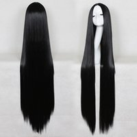 Wholesale Long Black Girl Wigs - 39inch 31inch Synthetic wig Long Black hair Cosplay supia-yisol Anime heat resiatance fiber good quality party for young