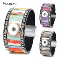 Wholesale Leather Magnet Clasp Bracelet - VOCHENG NOOSA Leather Bracelet Ginger Snap Charms Colorful Bangle Magnet Clasp 18mm Inlaid Crystal 4 Colors NN-526