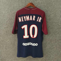 Wholesale Slim Fit Short Shirts - Perfect 17 18 Pari home soccer jerseys slim fit match worn issued soccer uniform player version football shirt custom name number NEYMAR JR