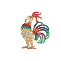 Wholesale Colorful Rooster - 100pcs lot Colorful Bantam Golden Rooster Chicken Brooch Farm Animal Livestock Clear Crystal Rhinestone Pin Brooches