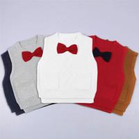 Wholesale Brown Child Cardigan - Kids waistcoat INS boys Girls cute bows sleeveless round collar Cardigan pullover children Twist cotton sweaters 2017 kids clothing G0513