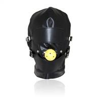 бдсм мяч затыкают рот оптовых-Высший сорт кожа секс игрушки головной убор с Рот мяч кляп БДСМ эротический кожа секс капюшон для мужчин игры для взрослых Секс SM маска для партии косплей