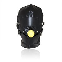 Wholesale Leather Mouth Gag Ball - Top Grade Leather Sex Toys Headgear With Mouth Ball Gag BDSM Erotic Leather Sex Hood For Men Adult Games Sex SM Mask For Party Cosplay