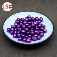 Wholesale Oval Pearl Beads Loose - Free dhl in 3-5 days 6-7 mm AAA round white pink purple purple 18 color natural freshwater pearl loose beads