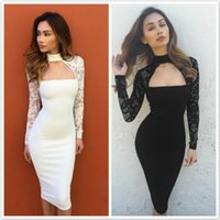 Wholesale Long Strapless Tight Dress - Tight Dress Bodycon Dress Strapless Top Turtle Neck Long Sleeve Lace Dress Sexy Evening Party Fitted Dresses