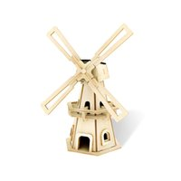 Wholesale Solar Powered Wooden Kits - Wholesale-Education Science Toy - Desktop Model-Solar Powered DIY wooden 3D Modelling Kit Windmill Wind Turbine Size 20*9.5*9.5cm