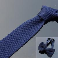 Wholesale Solid Knitted Neck Tie Woven - Sets Man Knitted neck Tie with Matching Bowties Solid Striped Polyester wool high quality 9 designs