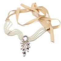 Wholesale Green Leaf Ribbon - 1920s Vintage Hairwear Leaf Flapper Ribbon Headbands Pearl Crystal Hair Jewelry Wedding Accessories Head Chain Bridal Headpieces