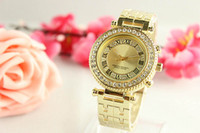 Wholesale Watch Gold Crystal Steel - Fashion Ro Brand Women's Men's Unisex crystal stainless steel band Quartz watch R0917