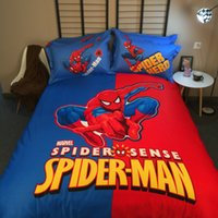 Mais novo 100% algodão Cartoon Boys Bedding Set Marvel Spider homem Rainha Califórnia King Duvet Cover Coverpread 4pcs Bed Linen Sets
