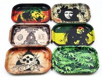 Wholesale Kitchen Containers Wholesale - Rolling trays Metal S Size 18cm* 14cm *2cm Bob Marely Dollar Tobacco Tray Handroller Cigarette Smoking tool Other Plates container kitchen