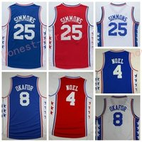 Wholesale Basketball Jersey Material - 2017 Newest 25 Ben Simmons Jersey Men Uniform 4 Nerlens Noel 8 Jahlil Okafor Shirt Rev 30 New Material Home Road Away Red Blue White