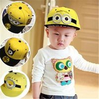 Wholesale Despicable Dhl - Despicable Me Hat Cartoon Peaked Cap Unisex Snapback Hiphop Cap Children Baseball Cap Minion for Kids Adults in Stock DHL Free