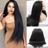perruque en dentelle synthétique yaki achat en gros de-Yaki droite synthétique cheveux dentelle perruque avant partie gratuite photo actural perruques pas cher pour les femmes perucas bébé cheveux noir 1b # stock