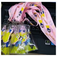 Wholesale Doraemon Mobile - Fashion Cartoon Cell Accessories hello Kitty Mickey Doraemon Mouse Neck strap Lanyard Keychain 3D Mobile Cell Phone Holder C268