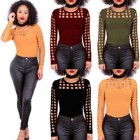 Wholesale Sexy Black Shirt Holes - Sexy Hole Female T-Shirt New Crop Top T Shirt Cropped Tops Hollow Out Short Sleeve Tee Shirt Women Burning Long Sleeves 4-color T-shirt