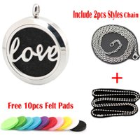 Wholesale Stainless Steel Love Necklace - New Arrive love Aromatherapy Essential Oil surgical Stainless Steel Perfume Diffuser Necklace Locket with chain and pads