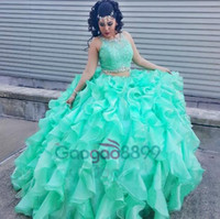 Wholesale mint sequins ball gowns resale online - Mint Green Two Piece Quinceanera Dresses Ruffles Organza Girls Masquerade ball gowns Lace Appliques Crystals Sweet Years