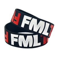 Wholesale Great Items - 50PCS Lot FML Silicon Wristband Fuc My Life Bracelet 1Inch Wide Band Funny Joke Item, Great to Used in Any Benefits Gift