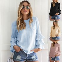 Wholesale Ladies Tops Butterfly Sleeve - 2017 Shirt Blouse Women Full Butterfly Sleeve O-neck Casual Kwaii Sky Blue Shirts Ruffles Cute Tops Elegant Ladies Blouses MTL170730