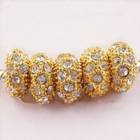 Wholesale European Crystal Spacers - 11MM Rhinestone Crystal Beads, Rondelle Loose Spacers, Golden Crystal Big Hole Beads Fit Charm European Bracelets