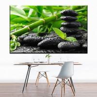 Wholesale Modern Abstract Oil Paintings Bamboo - ZZ657 modern decorative canvas art bamboo stone canvas pictures oil art painting for livingroom bedroom decoration unframed art