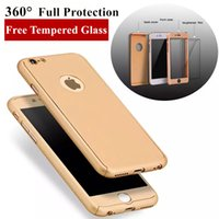 Wholesale Iphone Protection Glass - For iPhone 7 Case 360 Degree Full Protection Slim Hybrid Full Body Phone Case Free Glass Screen Protector For iPhone 6s Plus
