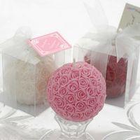 vela rosa de la boda de la bola al por mayor-Rose Flower Ball Vela Muilt Color vela aleatoriamente Favor de la Boda Suministros de Boda Decoración pastel regalo DHL Envío Gratis