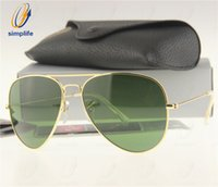 Wholesale Mens Driving - (17Colors) 58mm 62mm Mens & Womens Metal Pilot Sunglasses G15 Glass Lens Sun Glasses + Box, Case, Card