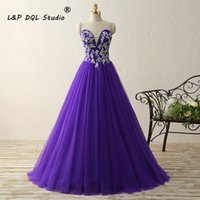 Wholesale Pink Eye Photos - Eye Catching Purple Ball Gown Prom Dresses Pleats Tulle with Floral Applique Lace-up Zipper Back Evening Gowns Quinceanera Dresses